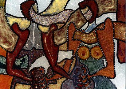 """""""Επικοινωνία"""". 140 x110 cm . Aκρυλικά χρώματα."""