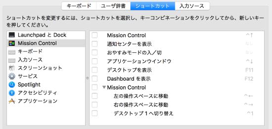 Mac OS キーボードショートカット