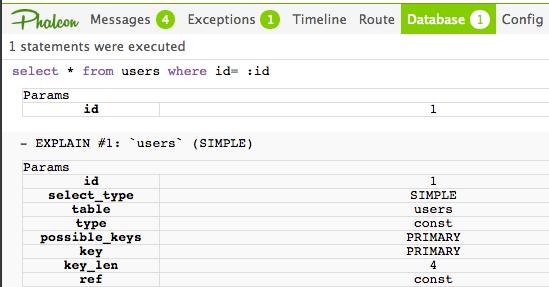 Phalcon Debug Bar Database