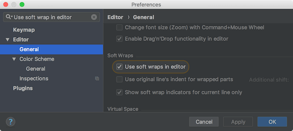 Use soft wrap in editor