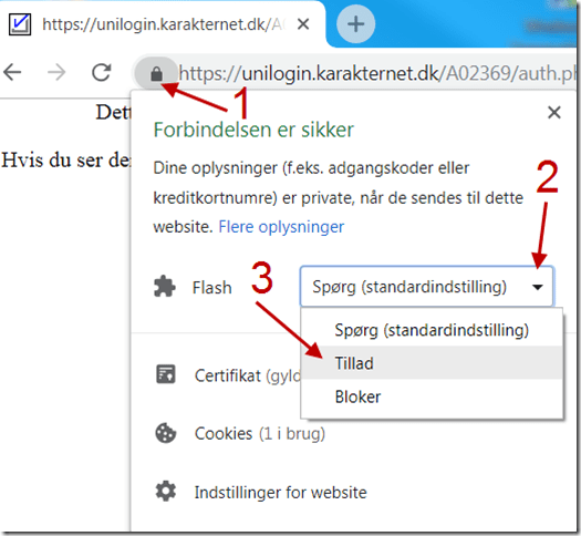 Hvis din browser blokerer for at Flash kan afvikles