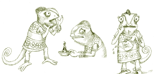 Chameleon character sketches
