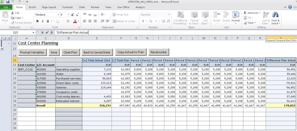 Budget des centres de coûts à travers l'interface Excel de BPC sur S/4 Finance (Analysis for Office)