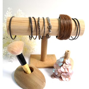 Kararam Handcrafted WOOD Jewellery Display STAND/Shelf(T-shaped Pedestal), Dressing Room, Showcase, Cabinet, TEAK, 210-mm or 8-inch Width