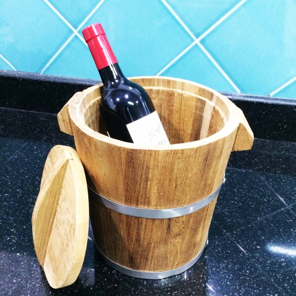 Handcrafted WOOD WINE Bucket(Ice Tub), Champagne, Beer Cooler, Bar, Party, Celebration & Anniversary Tools, TEAK, 150-230-mm, 6-9-inch Width