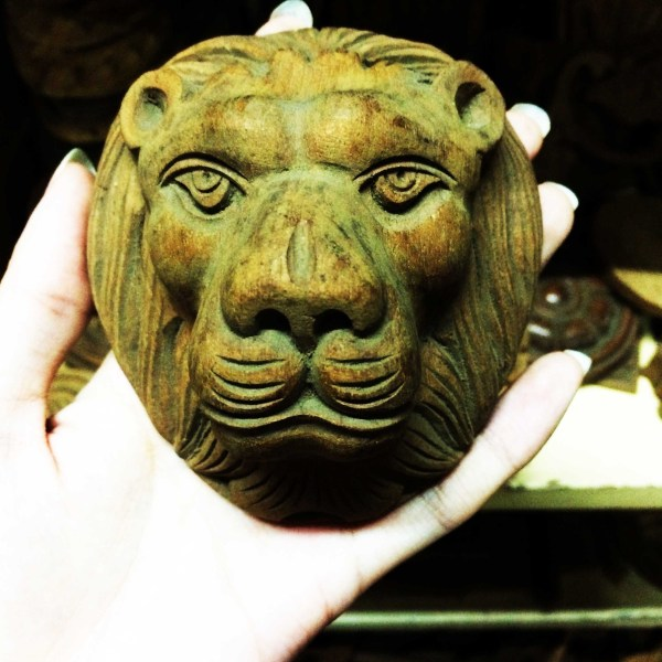 Handcrafted WOOD LION_A Sculpture, House, Office, Bedhead, Figure, Art, Home Decor, 100-mm or 4-inches(Width)
