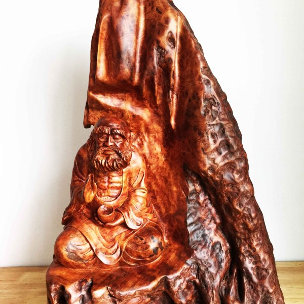 Handcrafted WOOD BODHIDHARMA Sculpture(Patriarch in Meditation), Chan Buddhism, Shaolin Monastery, Daruma, House, Office, Figure, Art, Home Decor, 700-mm or 27-1/2-inches(Height)
