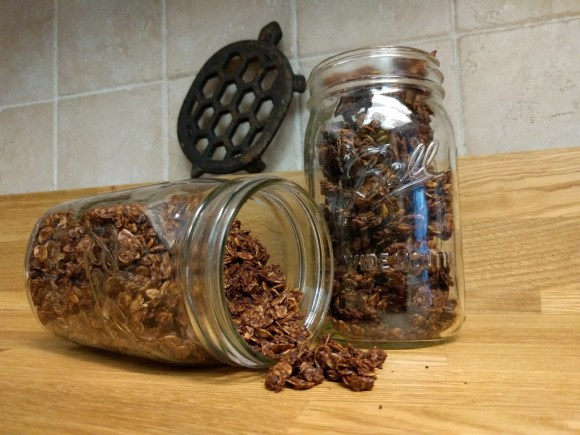 peanut butter chocolate granola in mason jars