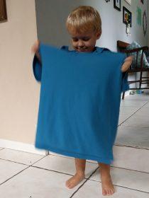 Blake wearing Stefen's shirt