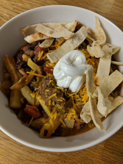 California burrito chili in bowl