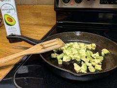 Frying avocados with avocado oil