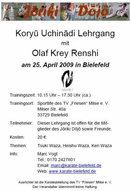 Der 2. Bielefelder Koryu Uchinadi - Lehrgang