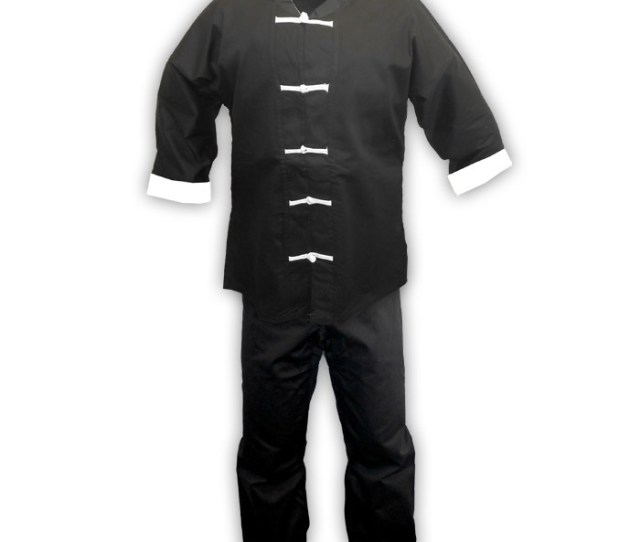 Black Kung Fu Uniform With White Frog Buttons