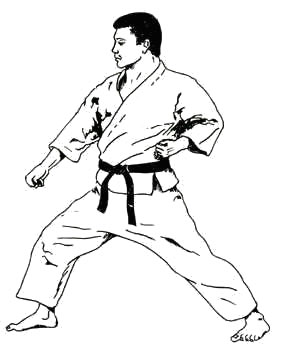 Gedan-gamae (low-level posture) is often used as a starting point for karate drills
