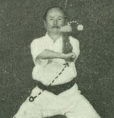 Funakoshi Gichin, founder of Shotokan, demonstrating Naihanchi Shodan