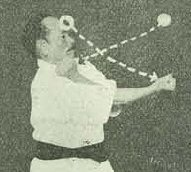 Funakoshi Gichin, founder of Shotokan, demonstrating Pinan Shodan