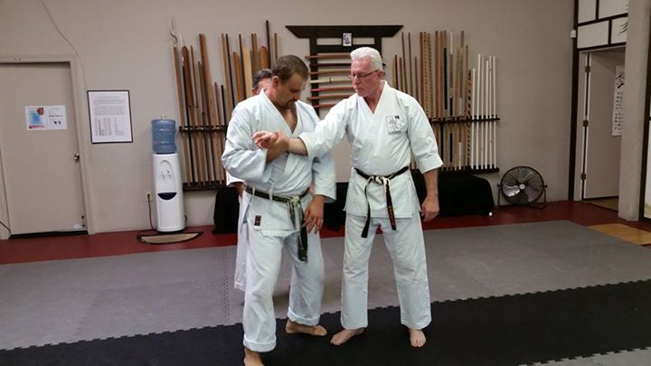 Ryan Parker showing Ed Sumner key points of a joint lock from Pinan Godan