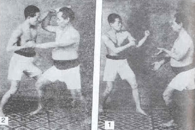 "Motobu Choki demonstrating the use of a low kamae to bait an opponent into striking to the head, seen in his book ""Okinawa Kenpo Karate-Jutsu"""