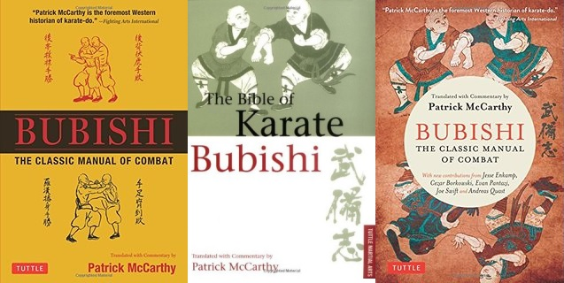 The covers of three editions of the Bubishi, by Patrick McCarthy