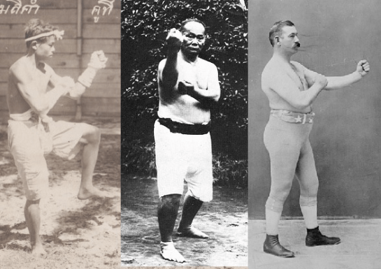 Comparison of Siamese, Okinawan, and Western bare-knuckle boxing stances