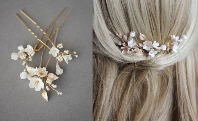 اكسسوارات شعر العروس مع تسريحات ناعمة وراقية