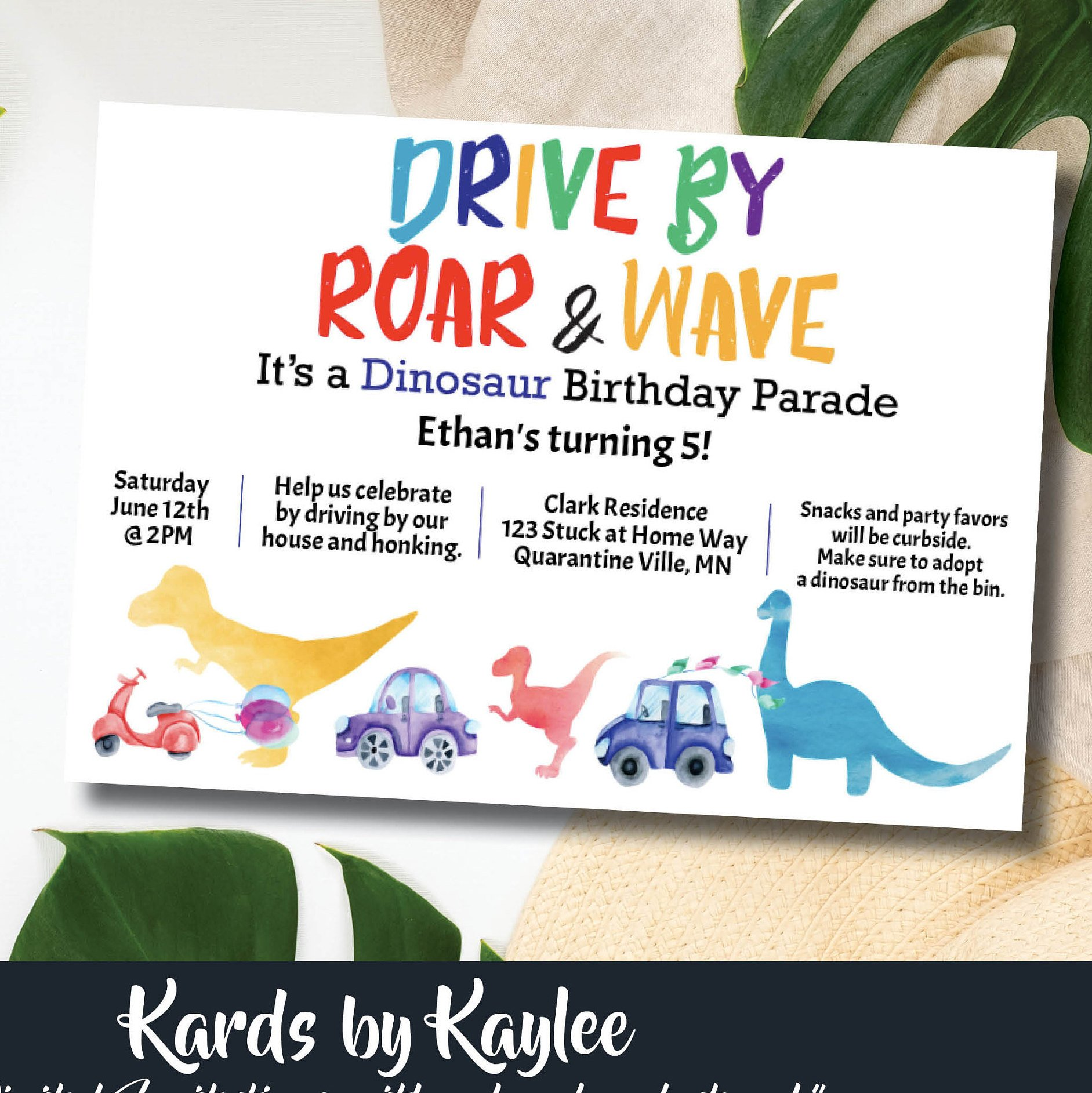dinosaur birthday parade invitation instant download template drive by birthday party social distance celebration