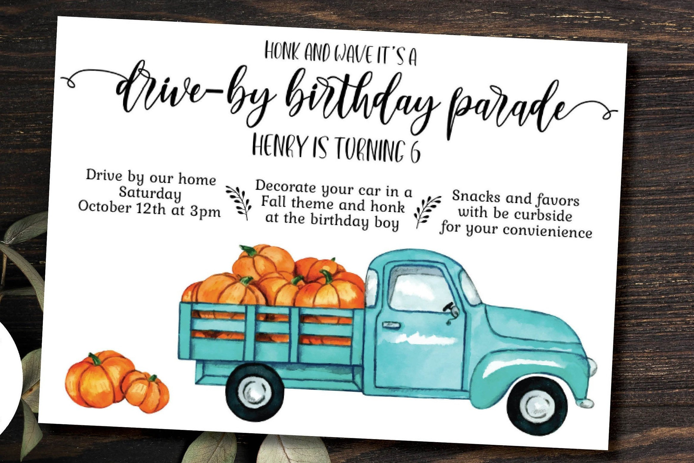 fall birthday parade invitation instant download template drive by birthday party social distance celebration
