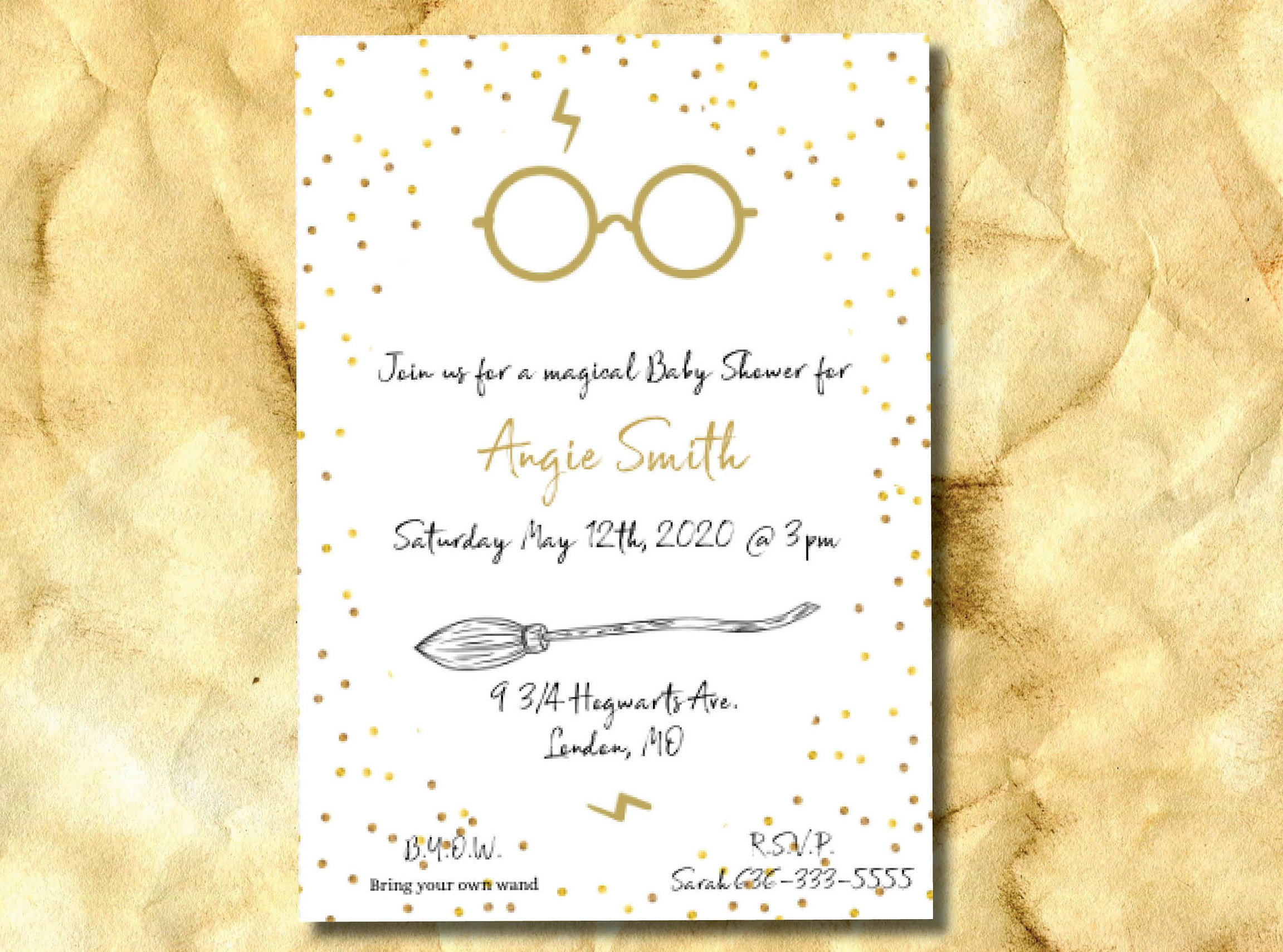 harry potter inspired baby shower invitation gold instant download digital printable template