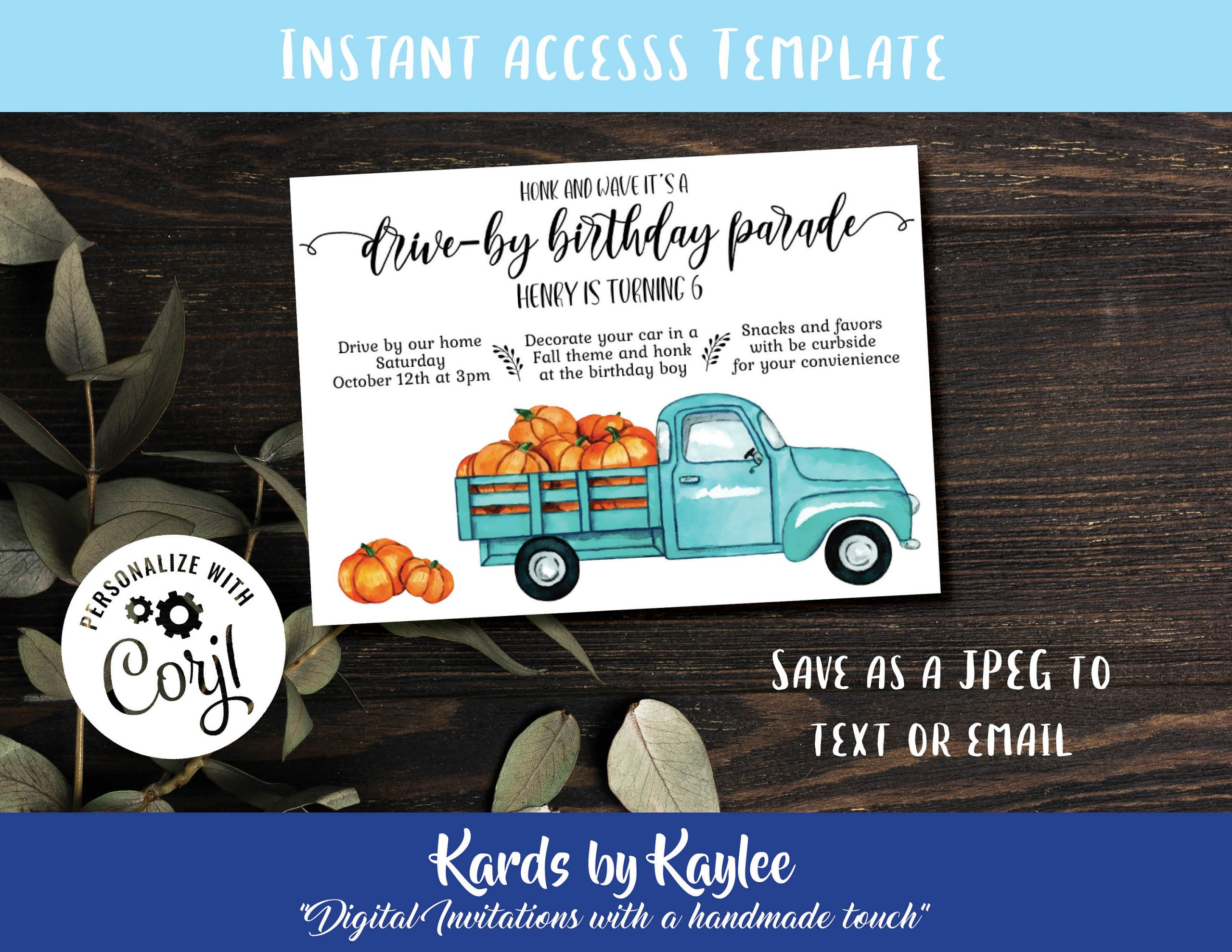 harvest drive by birthday party invitation instant download template drive thru birthday parade