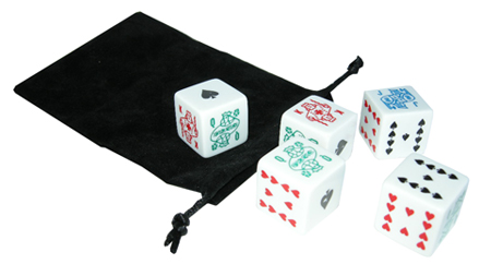 Dice Game Sets  Poker Dice Sets and Jackpot Dice Sets from Kardwell     1 Inch Poker Dice in Velour Bag