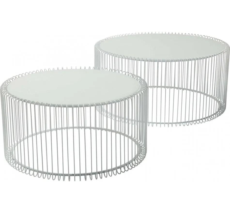 coffee table wire white 2 set kare design