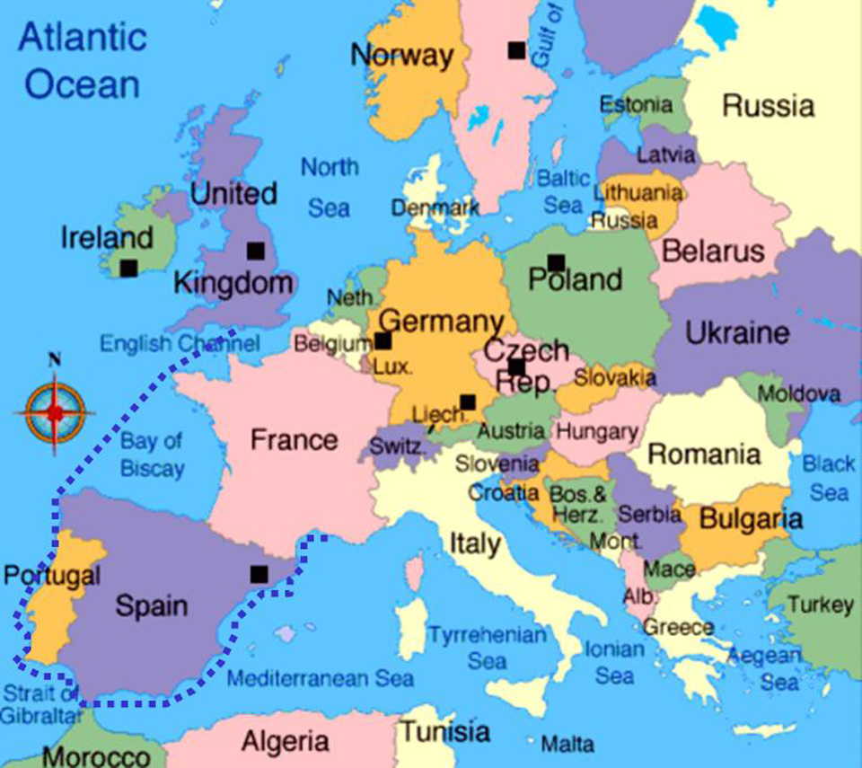 Map Of England France And Spain.Map England Scotland France Spain Portugal