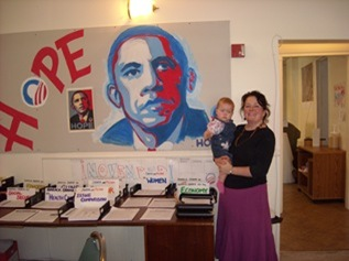 Karen Bruce campaigning for Barack Obama