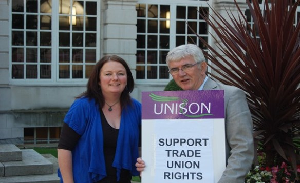 Karen Bruce with Councillor Ted Hanley and Unison banner