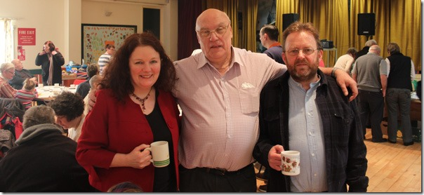 Cllr Karen Bruce, Peter Smith and Cllr David Nagle at Rothwell Tea Cosy Cafe