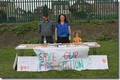 Oulton and Woodlesford action group community day fire station petition stall photo