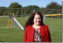 Cllr Karen Bruce at new childrens playground on Wood Lane estate