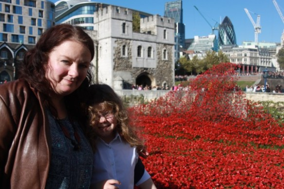 Cllr Karen Bruce at the Tower of London Remembrance poppies