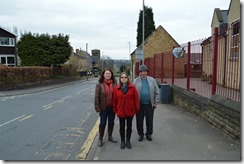 Cllr Karen Bruce and residents at road near Woodlesford school