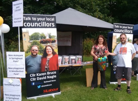 Cllr Karen Bruce and Cllr David Nagle at Rothwell Carnival