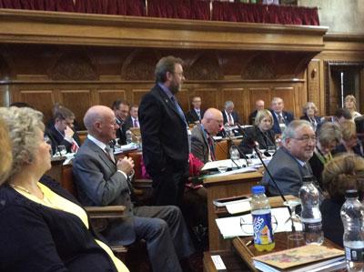 CllrDavid Nagle speaking on fracking in full council photo