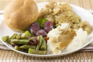 turkey dinner vegetable detail
