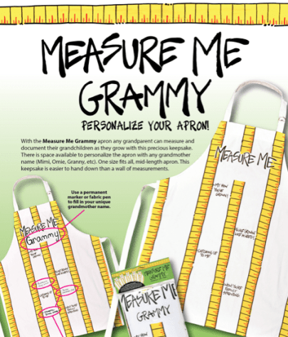 Clever gift for grandma! Measure Me Grammy apron.