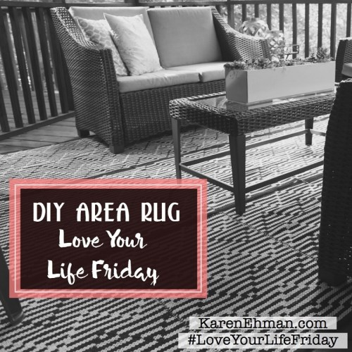 Clearance meets ingenuity with this EASY DIY Area Rug at KarenEhman.com