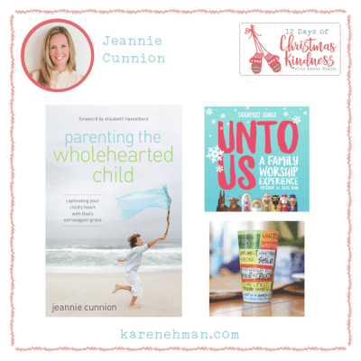 Enter Jeannie Cunnion's giveaway at Karen Ehman's 12 Days of Christmas Kindness.