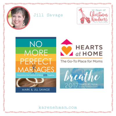Join Jill Savage for a Hearts at Home and book giveaway during Karen Ehman's 12 Days of Christmas Kindness.