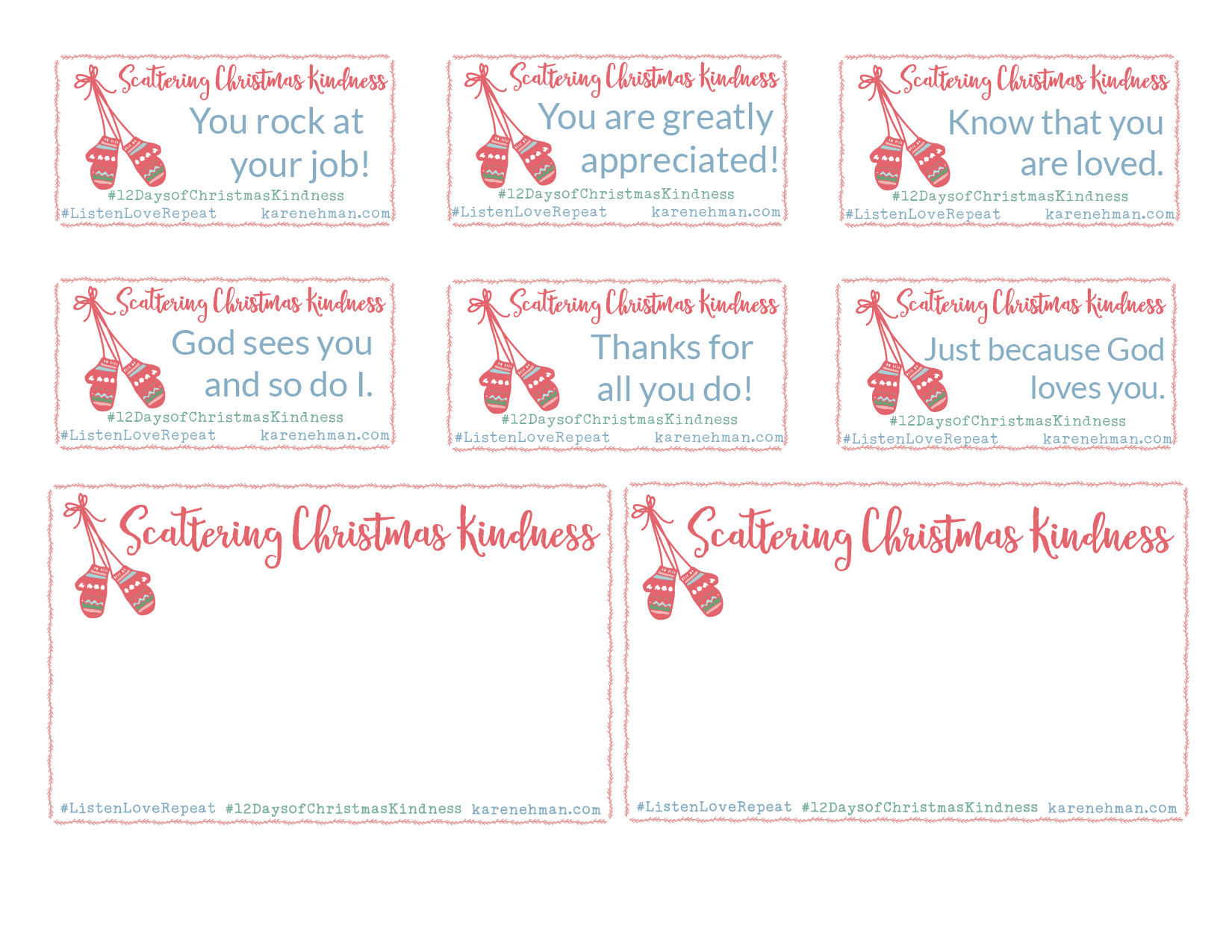 Click Here To Download The Printable Christmas Kindness Cards