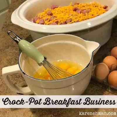 Need a super easy breakfast idea to feed a crowd? Try this Crock-Pot breakfast business at karenehman.com.