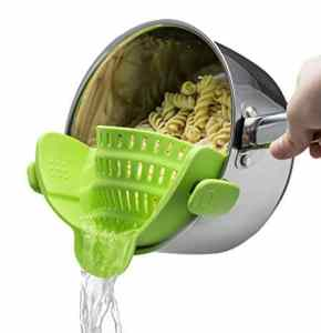 JIKO MAMBO Clip-on Silicone Strainer, Colander & Drainer, Pan Strainer; 12 Fabulous Gifts for Friends at karenehman.com.
