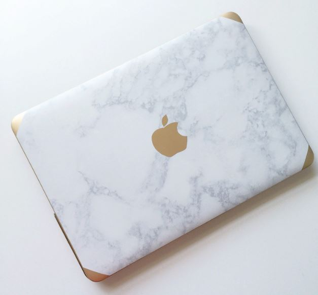 marble and gold macbook air case